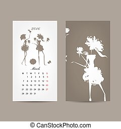 Calendar 2016 grid. Fashion girls design. Vector...