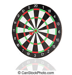Red and green darts punctured in the center