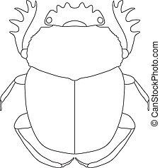 scarab Geotrupidae dor-beetle Sketch of dor-beetle...