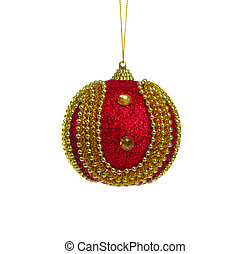 Red ball of christmas on white background