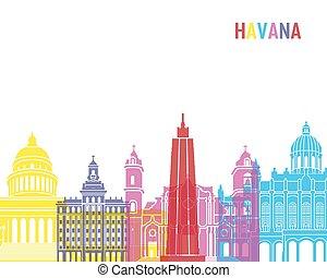 Havana skyline pop in editable vector file