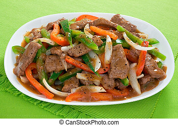 Chinese Pepper Steak - Chinese pepper steak - slices of...