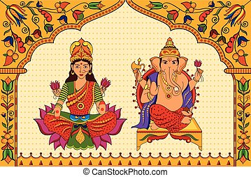 Goddess Lakshmi and Lord Ganesha in Happy Diwali background...