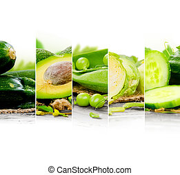 Green Mix - Photo of fruit and vegetable mix with green...