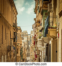 Streetview of Valletta - typical narrow street with stairs...