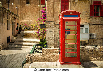 Streetview of Valletta - phone booth in the capital of...