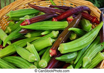 red green okra - red and green okra in a basket