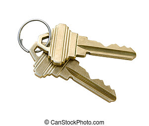 Keys with Clipping Path - Keys isolated on white background...