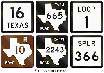 Collection of numbered road signs used in Texas, USA