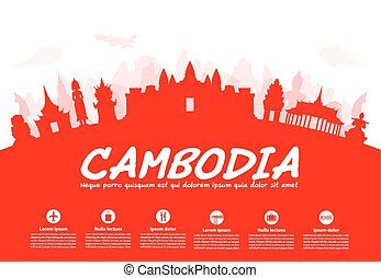 Beautiful Cambodia Travel Landmarks. Vector and...