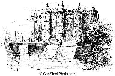 Bastille, vintage engraving. - Bastille, vintage engraved...