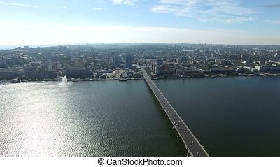 Dnepr River. Aerial Survey - Flight to Quadrocopters on The...
