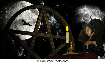 Witch reading Magic book with Candle light at Moon...