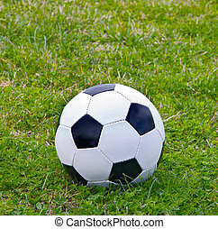 Soccer ball black and white on the grass