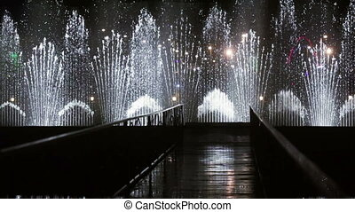 Dancing fountain at night speed - Fast shooting night...