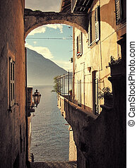 Filtered image of a view to the famous Italian lake Como...