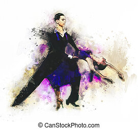 latino dancers color illustration
