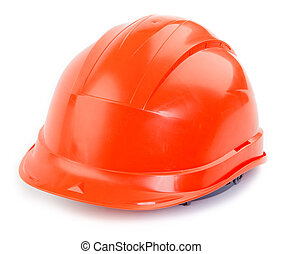 Helmet - Orange plastic construction Helmet on a white...