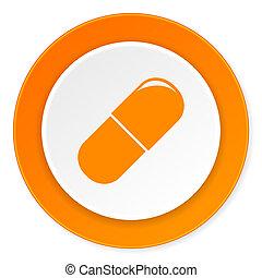 drugs orange circle 3d modern design flat icon on white...