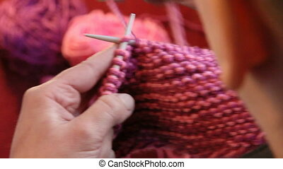 Winter time. Woman knitting with wool. - Winter time. Woman...