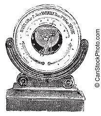 Aneroid barometer, vintage engraving. - Aneroid barometer,...