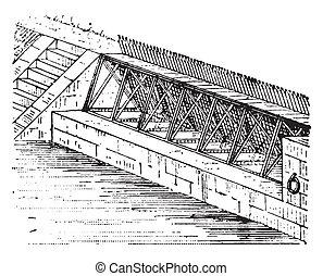 Dam, vintage engraving - Dam, vintage engraved illustration...