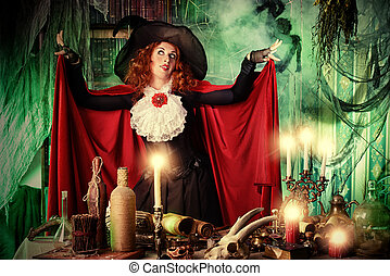 incantation - Attractive witch in the wizarding lair....