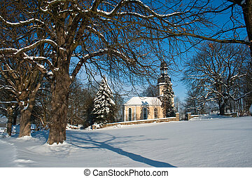 Little chapel in the snow in Landwuest Saxony Germany