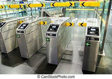 Underground metro station with modern gate