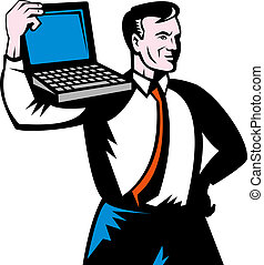 Man carrying computer notebook laptop on his shoulders. -...