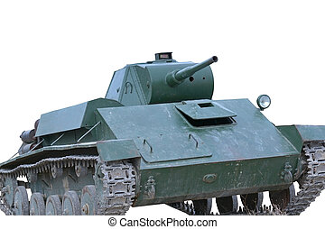 Soviet tank of period of the second world waron white...