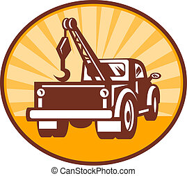 Rear view of a tow or wrecker truck - illustration or icon...