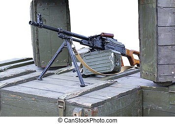 Machine Gun - Russian Machine Gun on position from the boxes