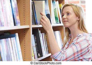 bok, bokhandel, kvinna, ung, välja