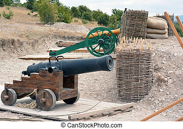 Old cannons - Old medieval artillery canon on the position