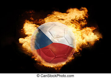 football ball with the flag of czech republic on fire -...