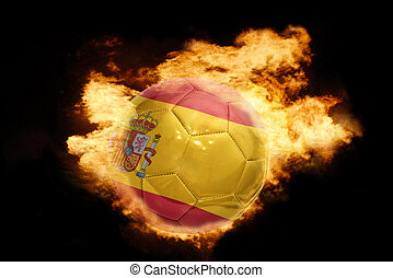 football ball with the flag of spain on fire - football ball...