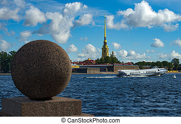 St Petersburg, Russia - Neva river. Palace Bridge, Peter and...