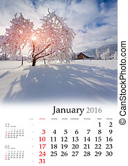 Calendar 2016. January. Colorful winter landscape in the...