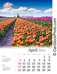 Calendar 2016. April. Colorful spring morning with a fiels...