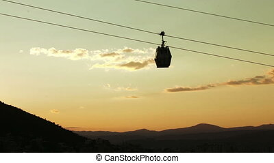 Funicular at sunset - Movement cabin cable car in historical...
