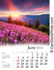 Calendar 2016. June. Colorful summer landscape in the...