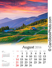 Calendar 2016. August. Colorful summer landscape in the...