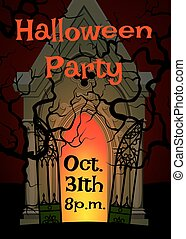 crypt and cemetery - Halloween poster for party with crypt...