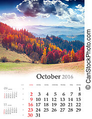 Calendar 2016. October. Colorful autumn landscape in the...