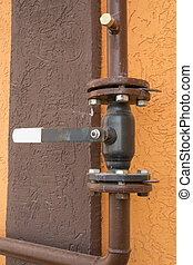 Rusted valve  - the new big metal pipe with valve