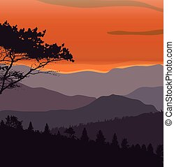 Image Mountains, Landscape, Trees Abstract Eco Banner Vector...