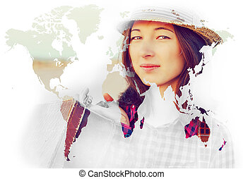 Double exposure portrait of woman combined with map - Double...