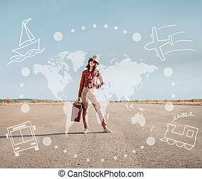 Traveler girl stands on road - Traveler young woman stands...