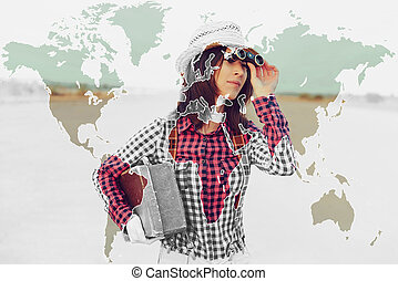 Double exposure map combined with tourist woman - Double...